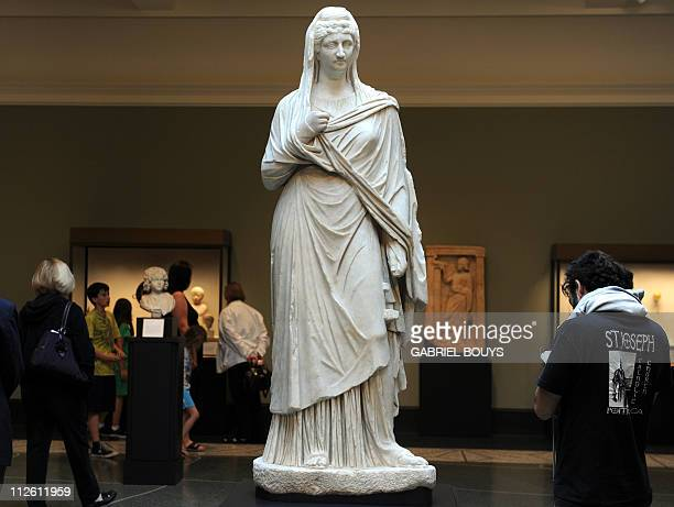 A Roman statue of Faustina the Elder wife of Emperor Antoninus Pius from Asia Minor is on display at the Getty Villa Museum in Malibu California on...