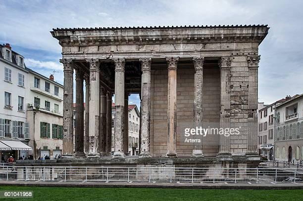 Roman temple of Augustus and Livia / Temple d'Auguste et de Livie in the city Vienne RhoneAlpes Isere France