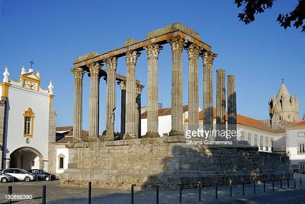 Roman Temple of Diana in Evora, UNESCO World Heritage Site, Alentejo, Portugal, Europe