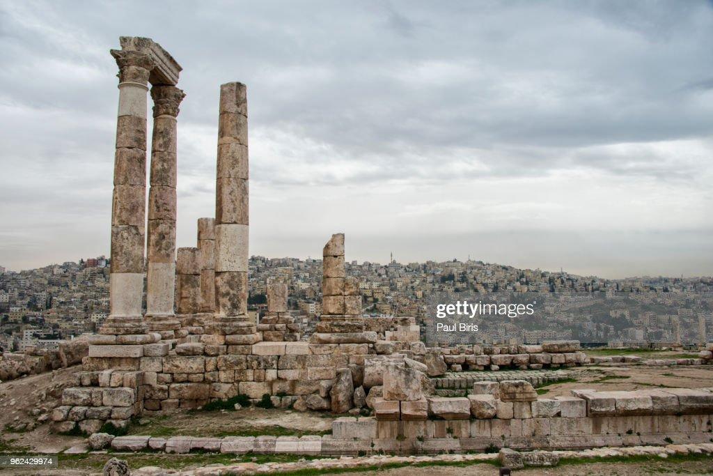 Roman temple of Hercules in the Amman Citadel in Jordan : Stock Photo
