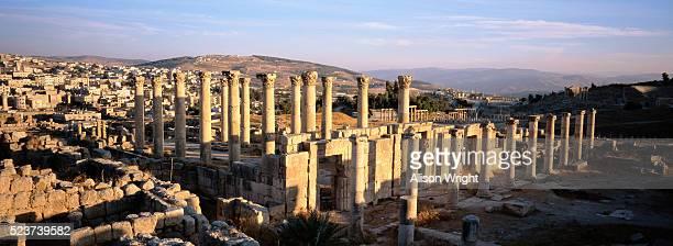 roman temple ruins at jerash in jordan - alison roman stock pictures, royalty-free photos & images