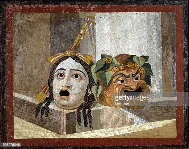 Roman Theater Masks Roman Mosaic 2d cent AD from the Baths of Decius on the Aventine Roma Musei capitolini Rome