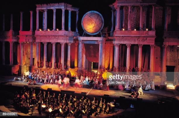 Roman Theater of Merida Badajoz Night theatrical representation in the scenario of the Roman theater