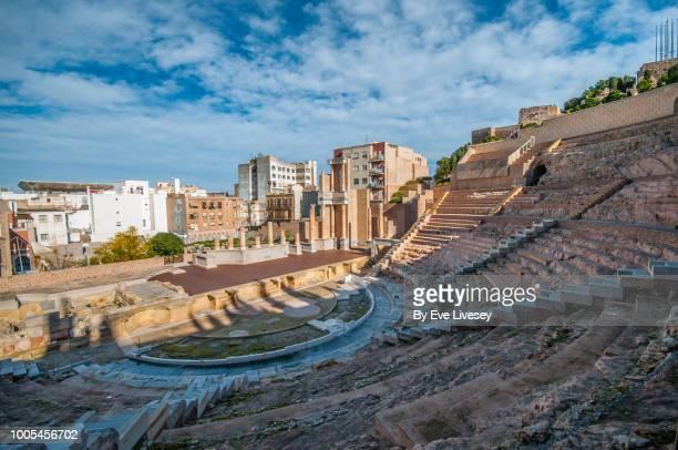 roman theatre cartagena, murcia, spain, europe. - murcia - fotografias e filmes do acervo