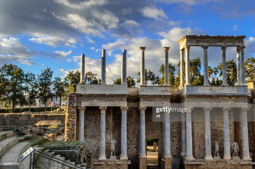 Roman Theatre of Mérida : stage detail (Emerita Augusta), at Merida, Badajoz : Stock Photo