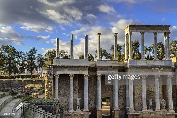 Roman Theatre of Mérida : stage detail (Emerita Augusta), at Merida, Badajoz