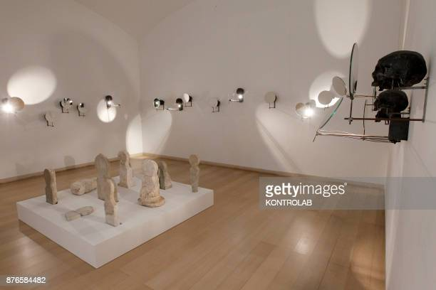 MUSEUM NAPLES CAMPANIA ITALY Roman tombstones are displayed next to Rebecca Horn's work in the exibition Pompei@madre in the Madre Museum of...