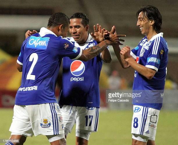 Roman Torres of Millonarios celebrates his goal during a match between Cucuta Deportivo and Millonarios as part of Liga Postobon II Cupat Guillermo...