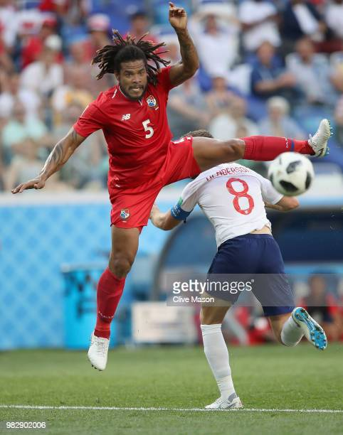Roman Torres of Panama challenges Jordan Henderson of England during the 2018 FIFA World Cup Russia group G match between England and Panama at...