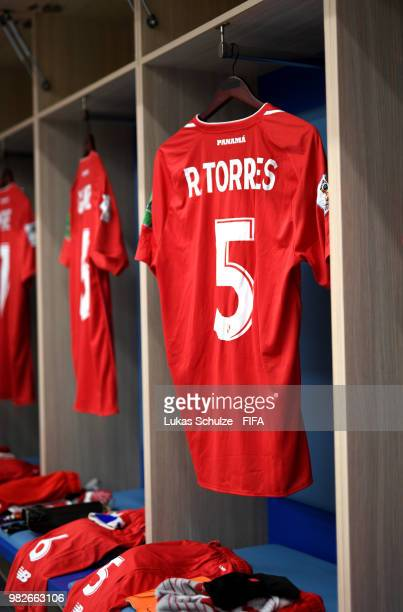 Roman Torres of Panama's shirt hangs in the dressing room prior to the 2018 FIFA World Cup Russia group G match between England and Panama at Nizhny...