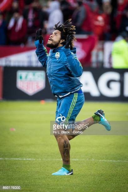 Roman Torres of Seattle Sounders takes the field during the 2017 Audi MLS Championship Cup match between Toronto FC and Seattle Sounders FC at BMO...