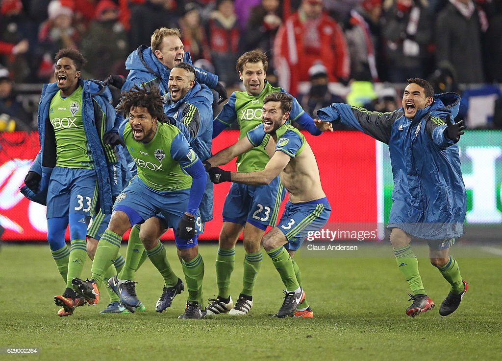 Roman Torres #29 of the Seattle Sounders celebrates his championship winning goal against the Toronto FC in the 2016 MLS Cup at BMO Field on December 10, 2016 in Toronto, Ontario, Canada. Seattle defeated Toronto in the 6th round of extra time penalty kicks.