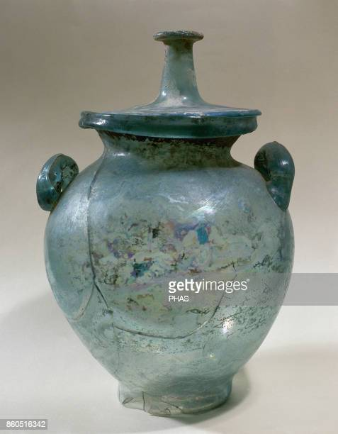 Roman urn of glass Object from Empuries province of Girona Alt Empordö Catalonia Spain Archaeological Museum of Girona Catalonia Spain