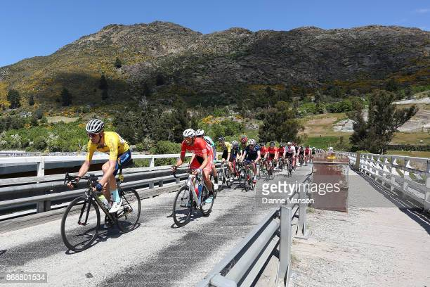 Roman van Uden of Auckland Powernet leads out front of the main peloton towards Frankton during stage 3 from Mossburn to Coronet Peak during the 2017...