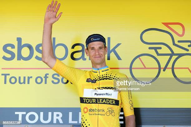 Roman van Uden of Auckland Powernet receives the yellow jersey in stage three from Riverton to Te Anau during the 2017 Tour of Southland on October...