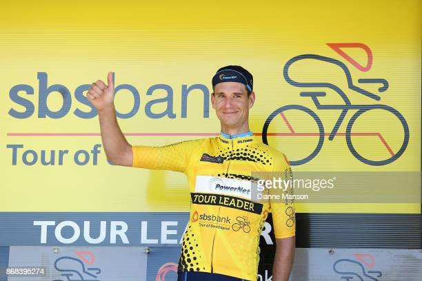 Roman van Uden of Auckland Powernet receives the yellow jersey on day three stage two from Riverton to Te Anau during the 2017 Tour of Southland on...