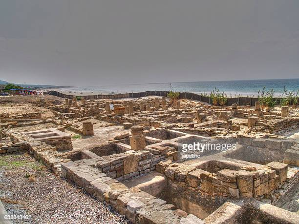 roman village at baelo claudia near tarifa. cadiz - amphitheatre stock photos and pictures