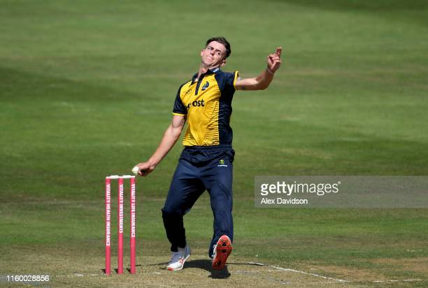 Roman Walker of Glamorgan bowls during a T20 Friendly match between Glamorgan and Netherlands at Sophia Gardens on July 04, 2019 in Cardiff, Wales.