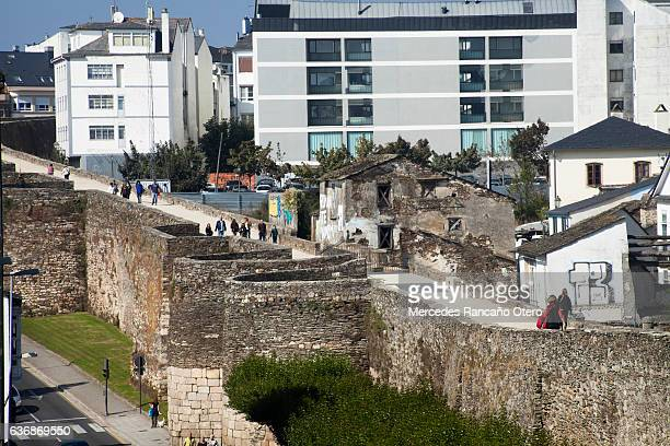 Roman wall and townscape in Lugo, Galicia, Spain