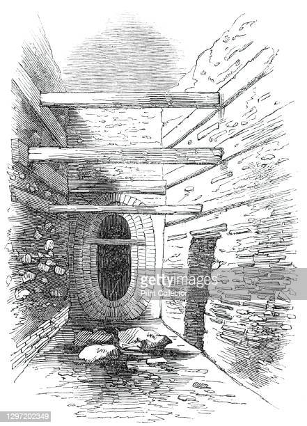Roman Wall, Bread-Street-Hill, 1844. Roman remains found in the City of London during the digging of sewers. Here we see '...a portion of one of the...
