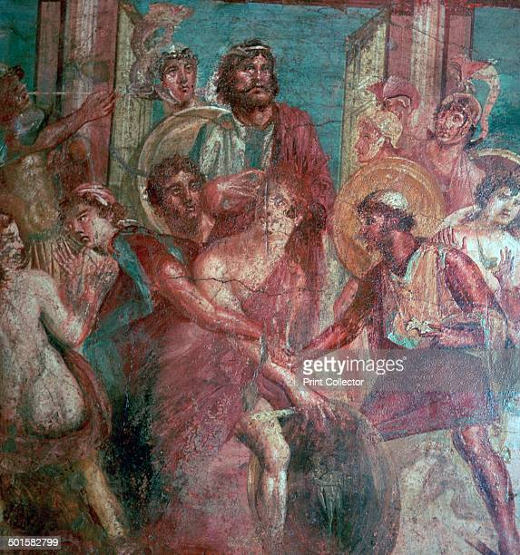 Roman wallpainting from the House of the Dioscuri in Pompeii showing Achilles revealed by Diomedes and Odysseus in Scyros From the National Museum in...