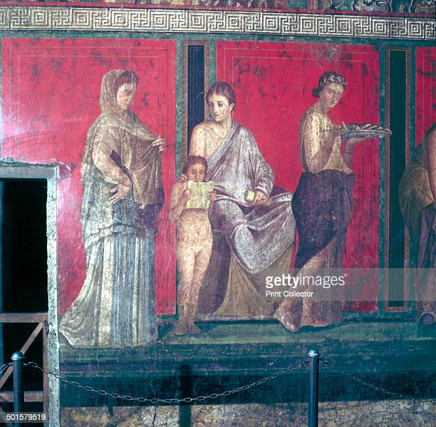 Roman wallpainting from Villa of the Mysteries Pompeii Italy 1st century Detail illustrates the rites of initiation of brides into the cult of...