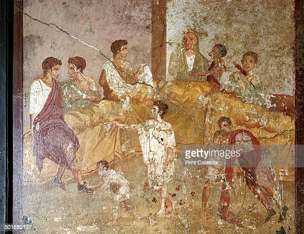 Roman wallpainting of a dinnerparty Pompeii Italy