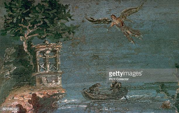 Roman wallpainting of Icarus flying over the sea from Pompeii