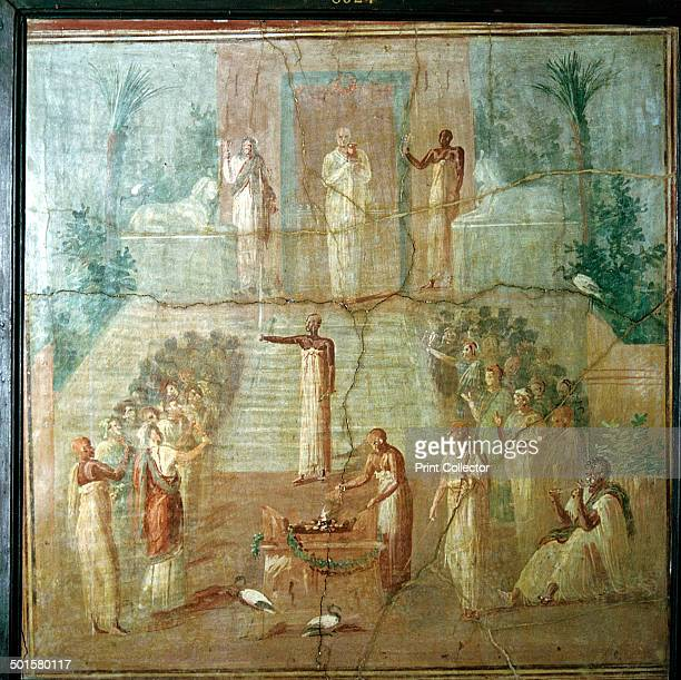 Roman wallpainting showing priests of Isis performing their ceremony Herculaneum Italy