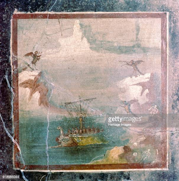 Roman wallpainting Ulysees and the Sirens Pompeii 1st century Depicts scene from Homer's Odyssey in which Ulysses resists bewitching songs of the...