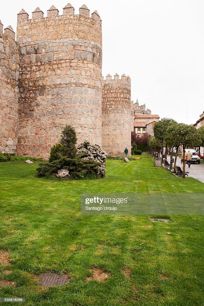 Roman walls encircling town of Lugo : Foto stock