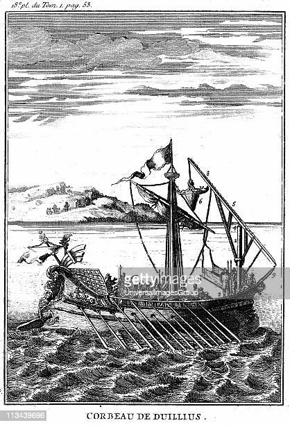 Roman war galley equipped with a corvus 18th century copperplate engraving