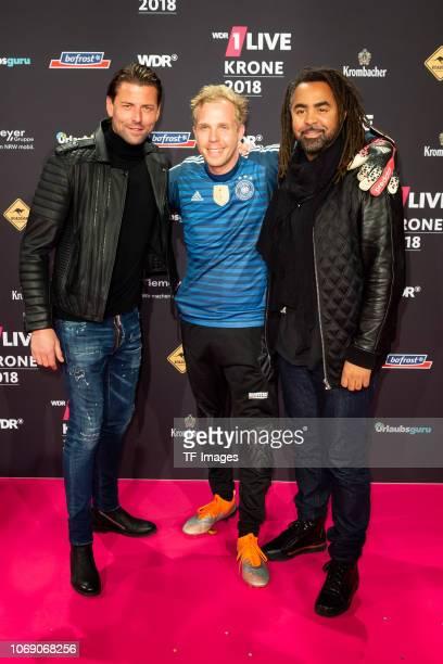 Roman Weidenfeller Daniel Danger and Patrick Owomoyela attend the 1Live Krone radio award at Jahrhunderthalle on December 6 2018 in Bochum Germany