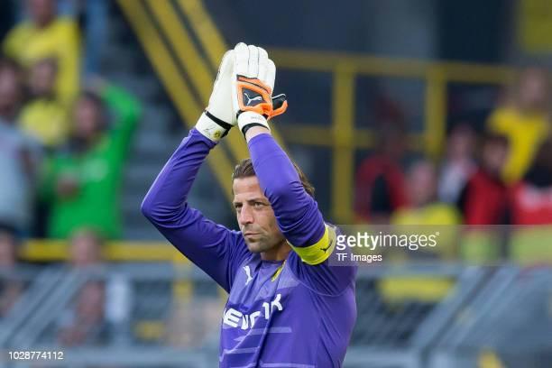 Roman Weidenfeller gestures during the Roman Weidenfeller Farewell Match between BVB Allstars and Roman and Friends at Signal Iduna Park on September...