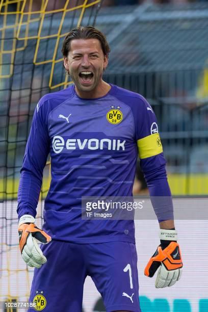Roman Weidenfeller laughs during the Roman Weidenfeller Farewell Match between BVB Allstars and Roman and Friends at Signal Iduna Park on September 7...