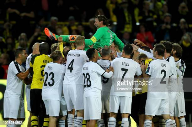 Roman Weidenfeller of Borussia Dortmund Allstars celebrates a goal during the Roman Weidenfeller Farewell Match between Borussia Dortmund Allstars...