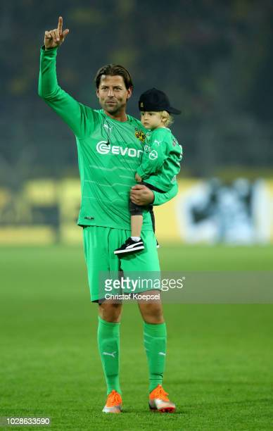 Roman Weidenfeller of Borussia Dortmund Allstars says farewell after the Roman Weidenfeller Farewell Match between Borussia Dortmund Allstars and...