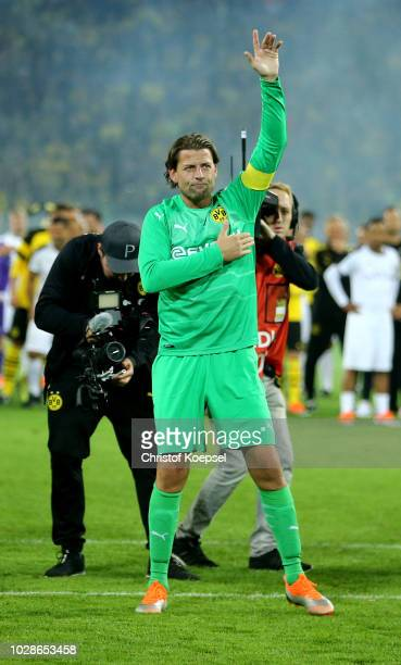 Roman Weidenfeller of Borussia Dortmund Allstars says farewell to the fans after the Roman Weidenfeller Farewell Match between Borussia Dortmund...