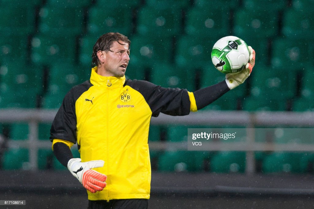 Roman Weidenfeller of Borussia Dortmund attends a training at University Town Sports Centre Stadium ahead of 2017 International Champions Cup China on July 17, 2017 in Guangzhou, Guangdong Province of China.