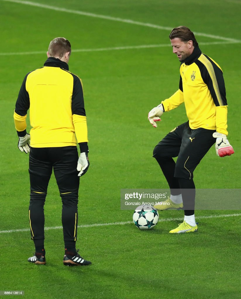 Roman Weidenfeller of Borussia Dortmund in action during a training session at Estadio Santiago Bernabeu on December 5, 2017 in Madrid, Spain.
