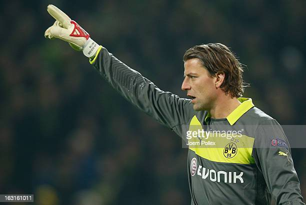 Roman Weidenfeller of Dortmund gestures during the UEFA Champions League round of 16 leg match between Borussia Dortmund and Shakhtar Donetsk at...