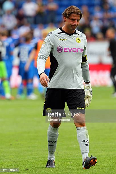 Roman Weidenfeller of Dortmund looks dejected after losing 0-1 the Bundesliga macht between TSG 1899 Hoffenheim and Borussia Dortmund at Wirsol...