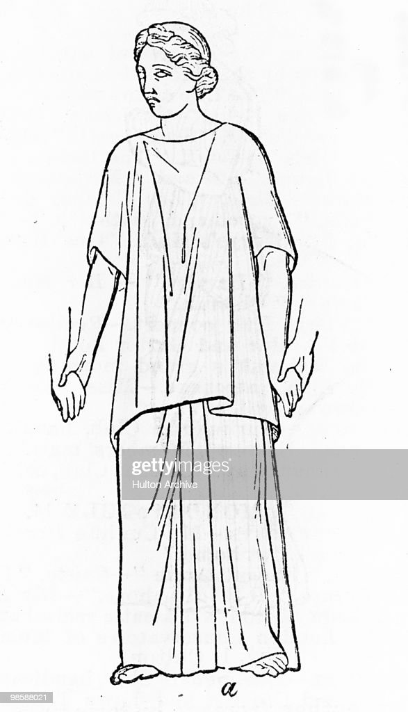 A Roman woman wearing a 'tunica interior' or under-tunic and