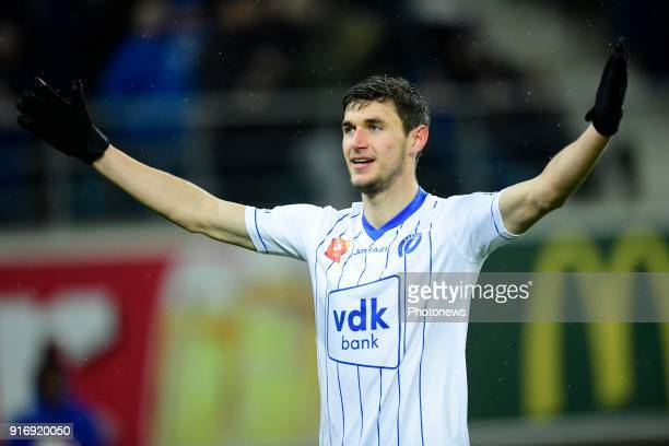Roman Yaremchuck forward of KAA Gent celebrates scoring a goal during the Jupiler Pro League match between KAA Gent and Sint Truidense VV at the...