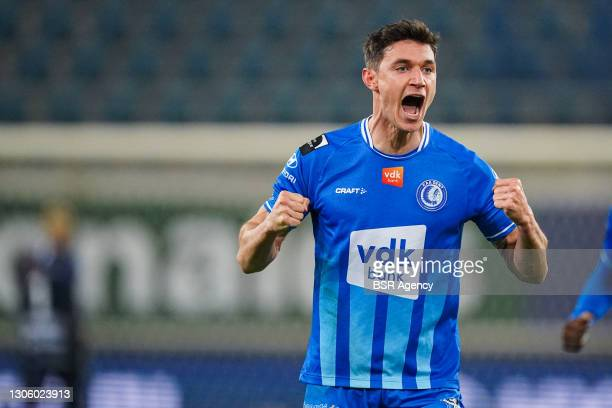 Roman Yaremchuk of KAA Gent celebrates scoring a goal during the Jupiler Pro League match between KAA Gent and KV Oostende at Ghelamco Arena on March...