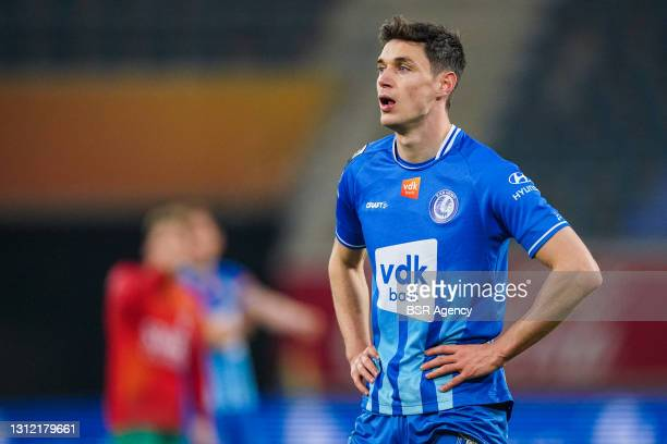 Roman Yaremchuk of KAA Gent during the Jupiler Pro League match between KAA Gent and KV Oostende at Ghelamco Arena on March 8, 2021 in Gent, Belgium