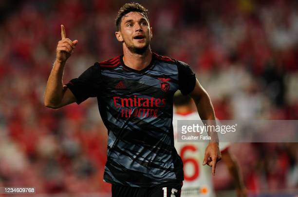 Roman Yaremchuk of SL Benfica celebrates after scoring a goal during the UEFA Champions League Third Qualifying Round Leg Two match between SL...
