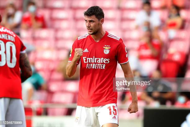 Roman Yaremchuk of SL Benfica celebrates after scoring a goal during the Portuguese League football match between SL Benfica and FC Arouca at the Luz...