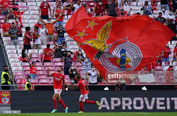 Roman Yaremchuk of SL Benfica celebrates after scoring a goal during the Liga Bwin match between SL Benfica and FC Arouca at Estadio da Luz on August...