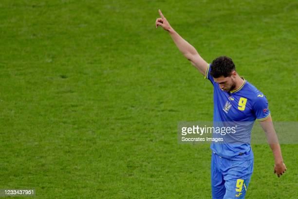 Roman Yaremchuk of Ukraine celebrates 2-2 during the EURO match between Holland v Ukraine at the Johan Cruijff Arena on June 13, 2021 in Amsterdam...